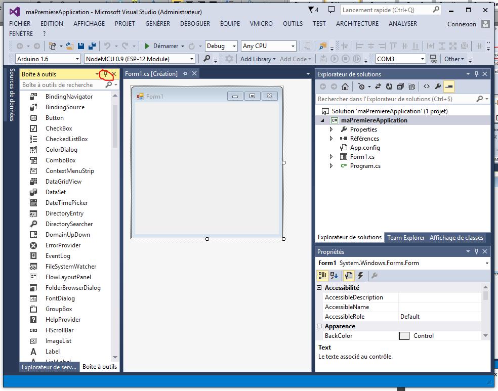 C for Fenetre windows outils